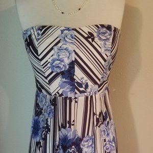 Trixxi Cotton  Stiped Floral Strapless SZ 7 Dress